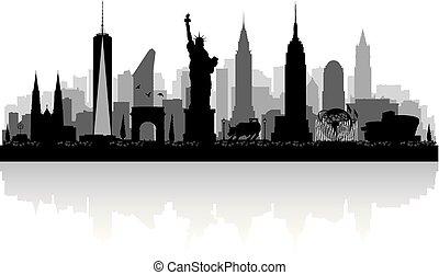 La silueta de la ciudad de Nueva York