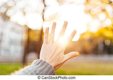 La silueta de la mano contra el atardecer los rayos del sol entre tus dedos