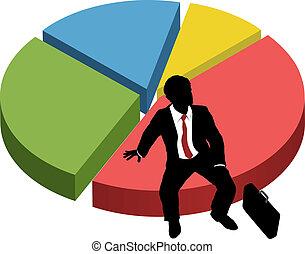La silueta de los negocios se sienta en el mercado