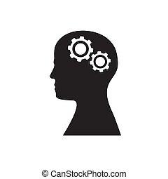 La silueta de una cabeza con dos engranajes en un fondo aislado blanco. Imágenes de vector.