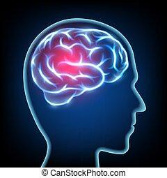 La silueta de una cabeza humana. Enfermedad migraña. Sístema nervioso cerebral