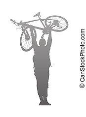 La silueta del hombre para elevarse sobre una bicicleta