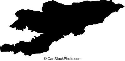 La silueta negra bordea el mapa de Kyrgyzstan de fondo blanco. Contorno de estado. Ilustración de vectores