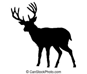 La silueta negra de un ciervo en blanco