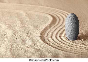 La simplicidad del jardín Zen y la armonía forman un fondo para la meditación y la relajación, para el equilibrio y la salud