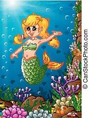 La sirena de ilustración bajo el mar