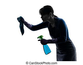 La sirvienta de la limpieza rocia la silueta