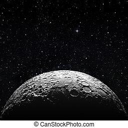 La superficie de media luna y el espacio estelar