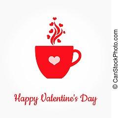 La taza de café del día de San Valentín