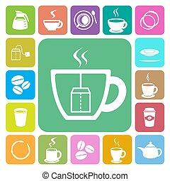 La taza de café y el icono de taza de té