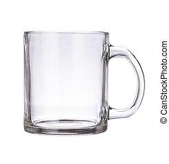 La taza de vidrio está vacía para café o té aislado en un fondo blanco