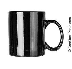 La taza negra está vacía para café o té aislado en blanco