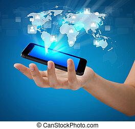 La tecnología móvil de comunicación moderna muestra la red social
