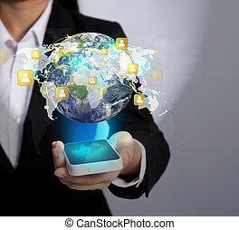 La tecnología móvil de la comunicación moderna muestra a la red social (Elementos de esta imagen amueblada por la NASA)