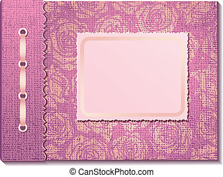 La tela rosa cubre un álbum de fotos