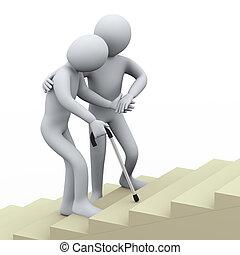 La tercera persona ayudando al viejo