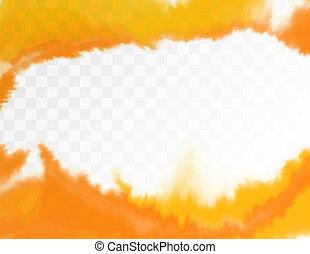 La textura amarilla, la mano abstracta pintada fondo acuarela con la brecha en el medio. Ilustración de vectores.