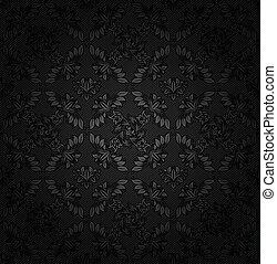 La textura de Corduroy, fondo oscuro, tela de adorno, flores grises