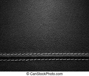 La textura de cuero negro con puntadas