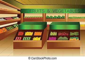 La tienda de comestibles: la sección de frutas y verduras