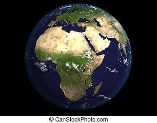 La tierra del espacio muestra Europa y África. Una imagen extremadamente detallada, incluyendo elementos provistos por la NASA. Otras orientaciones disponibles.