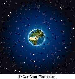 La tierra en el espacio. Ilustración de vectores