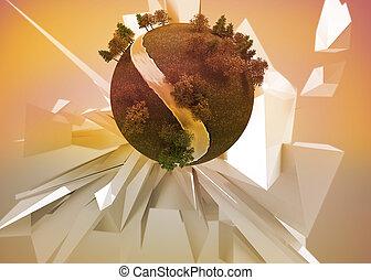 La Tierra flotaba antes del fondo abstracto