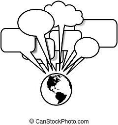 La Tierra habla de los blogs en el espacio de burbujas
