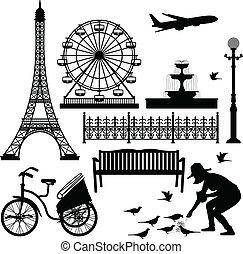 La torre de Paris Eiffel, la noria