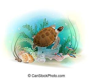 La tortuga marina nada en el océano. La ilustración del mundo submarino tropical. Pescado de acuario.