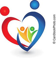 La unión familiar en un logotipo con forma de corazón