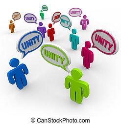 La unidad, la gente que habla en las burbujas de los discursos