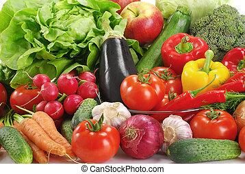 La variedad de las verduras crudas