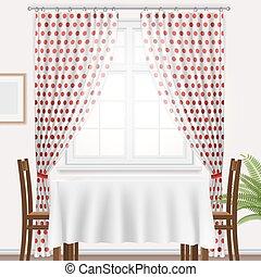 La ventana de la cocina y una mesa