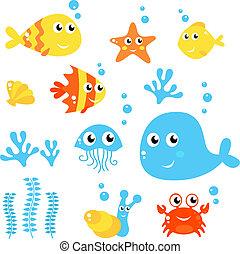 La vida marina, el mar y los peces se recogen en blanco