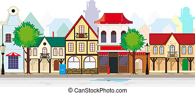 La vieja calle elegante de un pueblo pequeño