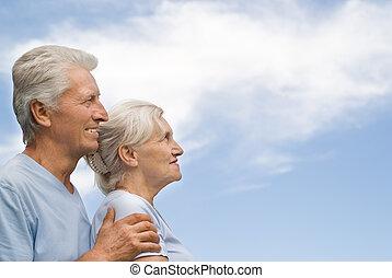 La vieja pareja descansando