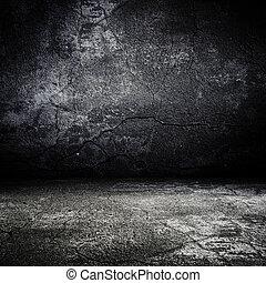 La vieja sala de miedo grunge con textura concreta