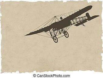 La vieja silueta del vector en papel viejo