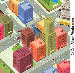 La vista aérea de Cartoon City