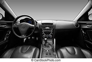 La vista del interior de un automóvil moderno