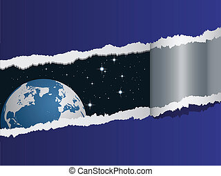 La vista del vector en la tierra en el espacio