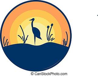 La vista escénica de un paisaje con un avestruz de pie en su vector de color de un pie dibujo o ilustración