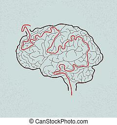 laberinto cerebral con el camino correcto