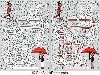 laberinto, día lluvioso