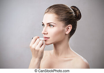 labio, higiénico, balm., ser aplicable, mujer hermosa