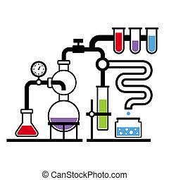 laboratorio, 3, infographic, conjunto, química
