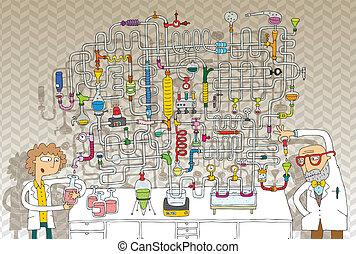 laboratorio, juego, laberinto