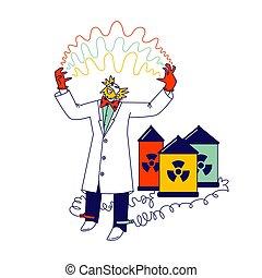 laboratory., lineal, alambres, entre, científico, enojado, conectar, radiación, dirigir, descarga, señales, piernas, electricidad, carácter, experimentos, hands., tóxico, tiene, loco, ilustración, vector, baterías