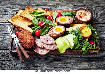labrador, tabla, almuerzo, primer plano, de madera
